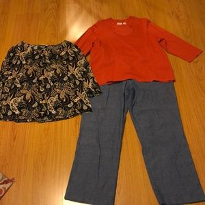 Alfred Dunner 20 W pull on jeans w/ 2 free tops